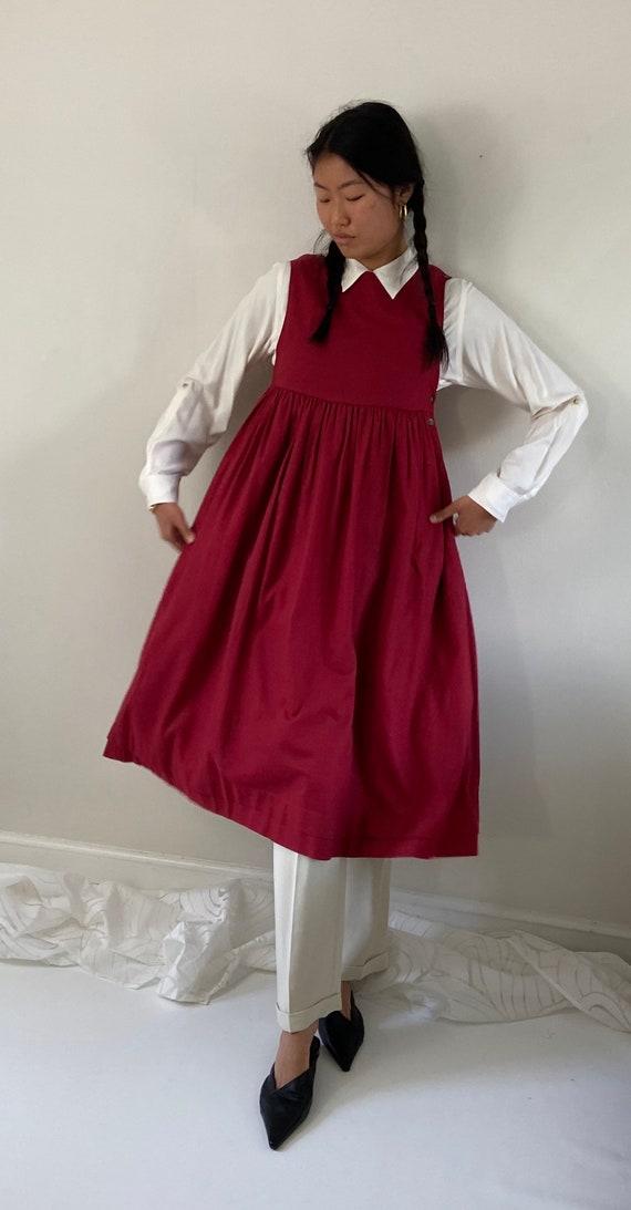 80s Laura Ashley pinafore dress / vintage garnet … - image 4
