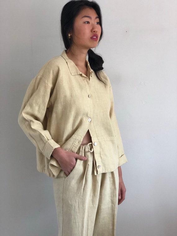 80s linen pant suit / vintage buttercream raw wov… - image 3