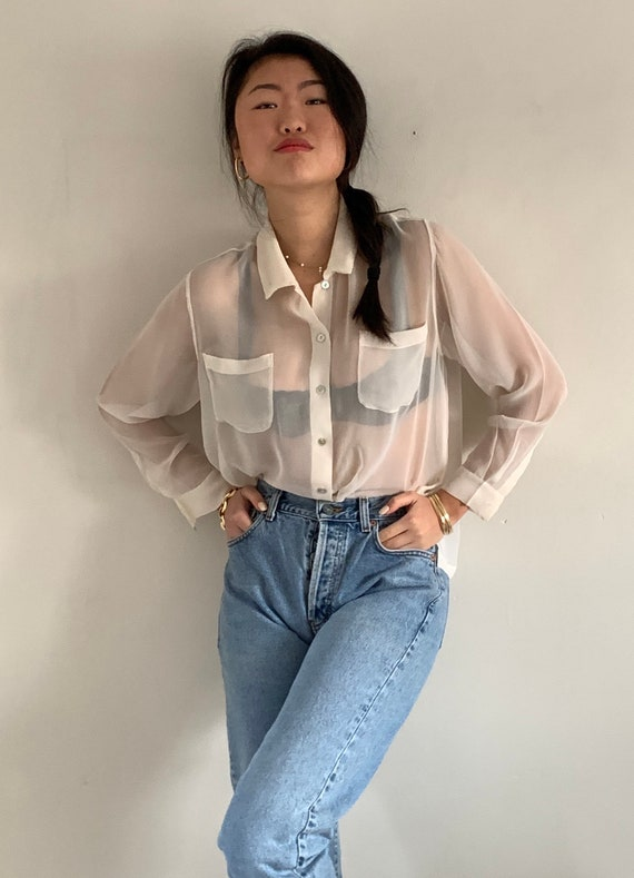 90s sheer silk pocket blouse / vintage creamy whit