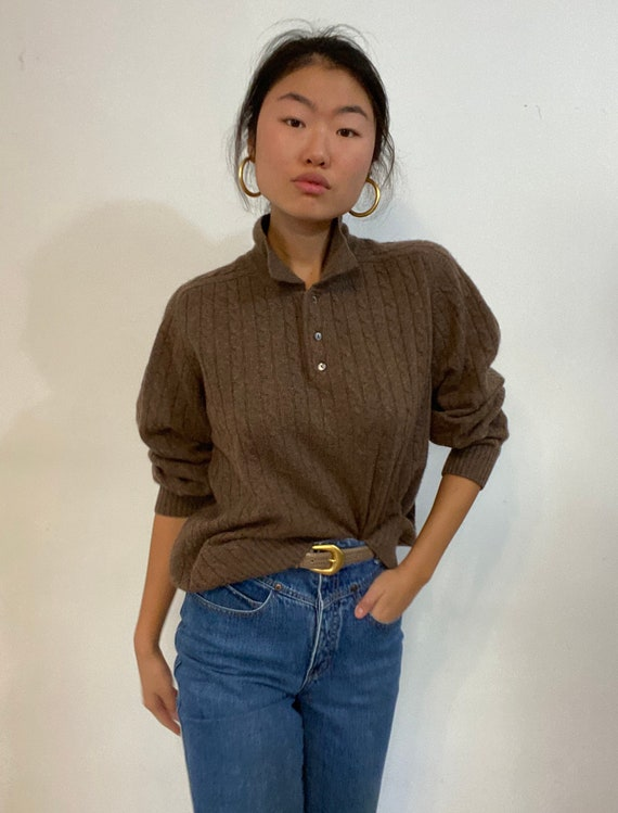 90s cashmere collared sweater / vintage cocoa brow