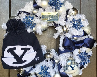 BYU Brigham Young University Cougars Football knit Snow hat Wreath on white  pine with Dark Blue satin ribbon Christmas cd2fac0ec51b