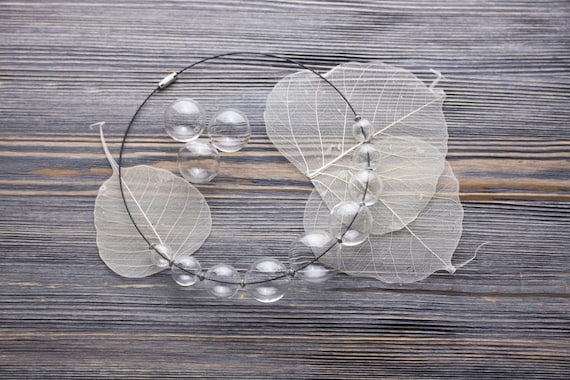 hand blown glass necklace Clear glass bubble statement necklace mother gift modern wedding jewelry unique gifts for women