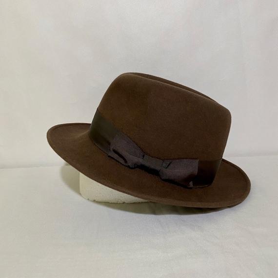 Vintage Chocolate Brown Felt Barneys New York Fedo