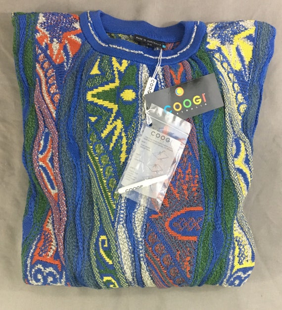 Vintage Coogi Mens Blue Patterned Colforful Vibran
