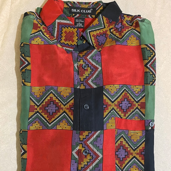 VTG Silk Club Aztec Men's Silk Shirt Size Large