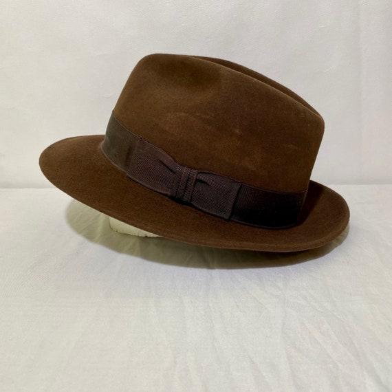 Vintage Chocolate Brown Felt Stetson Fedora Size 7