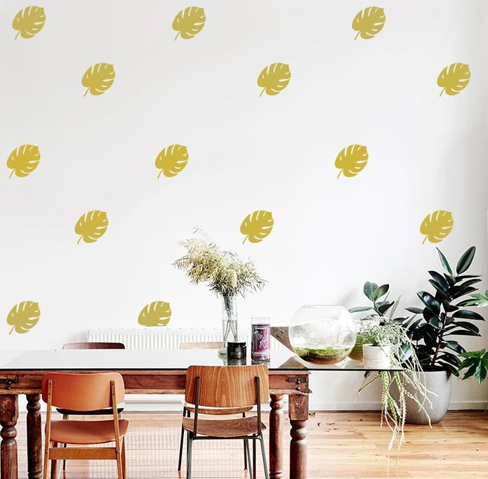 Gold Monstera Wall Decals Gold Tropical Wall Decals Tropical Etsy
