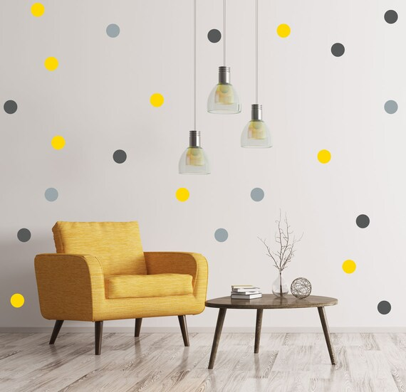 Yellow And Grey Polka Dot Wall Decals Removable Wallpaper Confetti Decals Nursery Decor Nursery Decals Removable Wall Art Living Decor