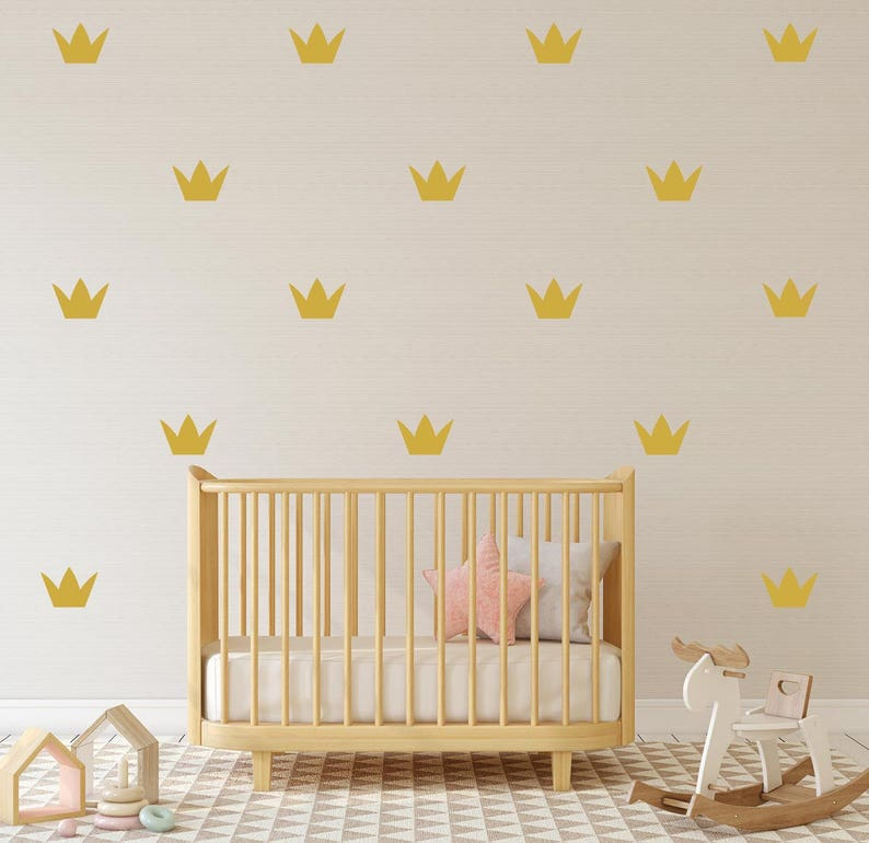 gold crown wall sticker set of 40/28 decals crown pattern | etsy