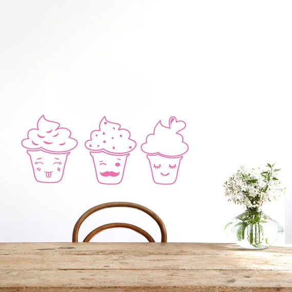 CUPCAKES X5 PER STICKER PAGE VINYL WALL  STICKER VARIOUS SIZES