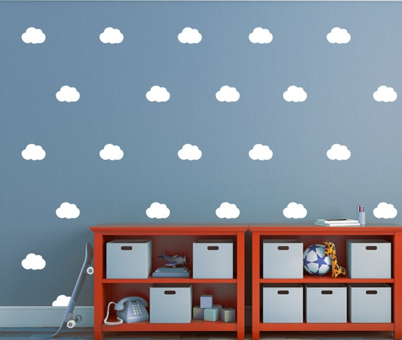 cloud wall stickers set of 28 decals cloud wall decals | etsy