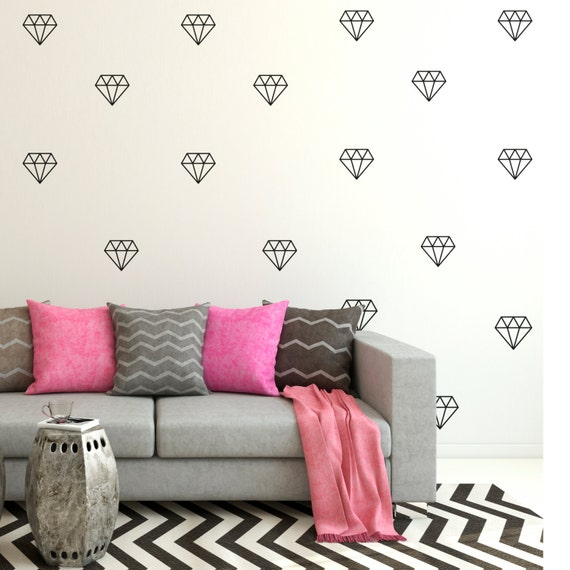 diamond wall decal set of 42 diamond wall stickers diamond | etsy