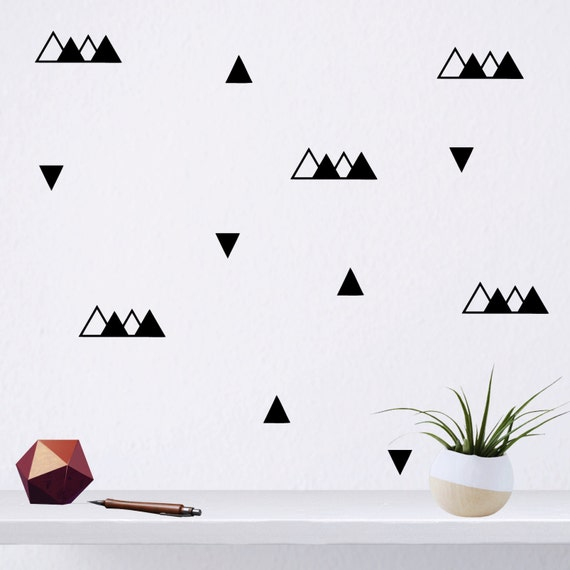 black triangle wall stickers set of 46 triangle pattern | etsy