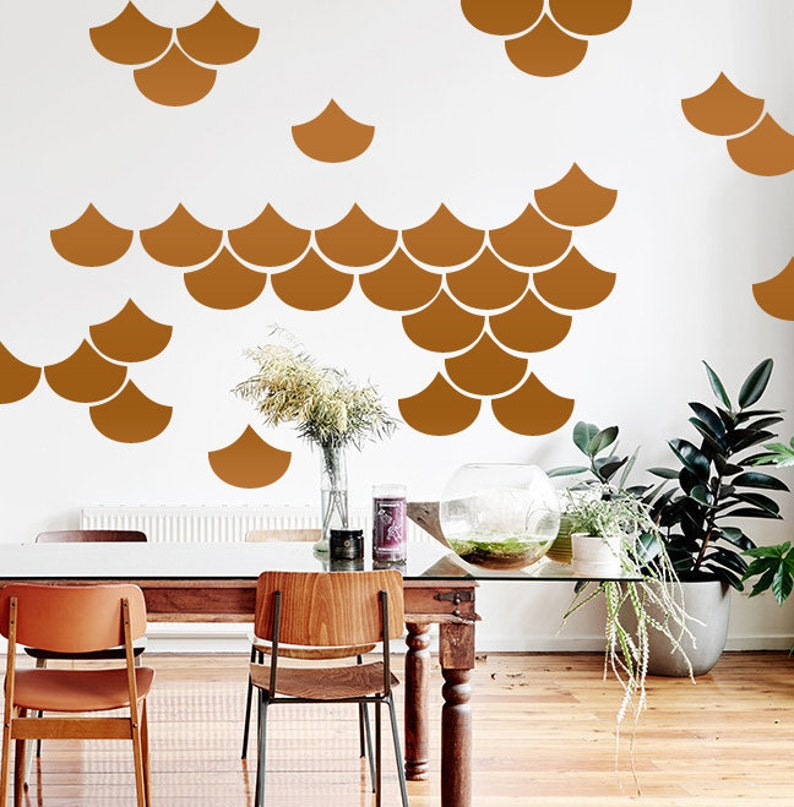 Set of 60, Mermaid Scale Wall Decals, Nursery Decal, Geometric Decals,  Modern Wall Decals, Unique Wall Decor, Copper Wall Decal
