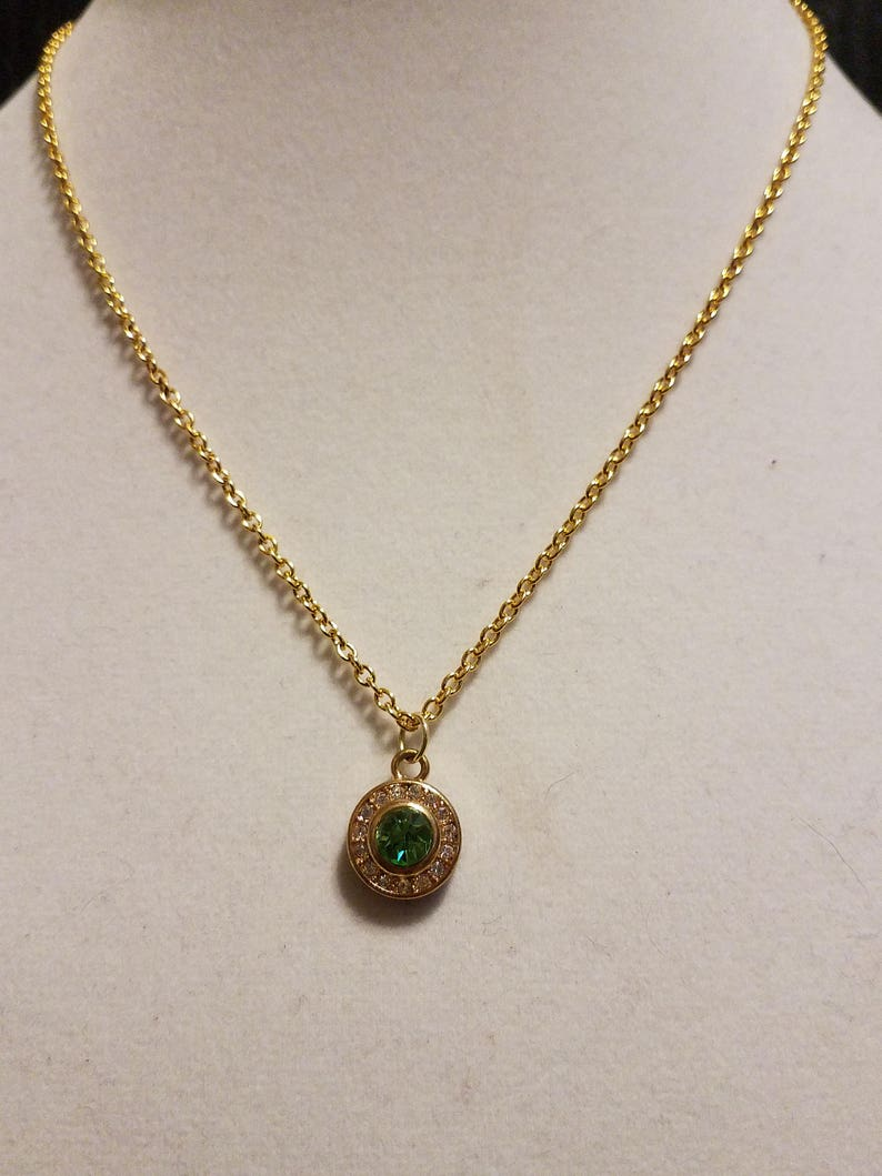 Green and White Crystal Golden Delicate Necklace