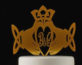 Irish  Scottish Claddagh Ring Wedding Cake Topper