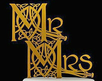 Lotr, Irish Celtic Knot Wedding Cake Topper also available for same sex weddings