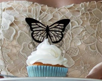 Butterfly Cupcake Topper, Set of 6 cupcake Toppers, Party Cupcake Topper, Butterfly Picks, Cupcake Decorations, Butterfly Decorations