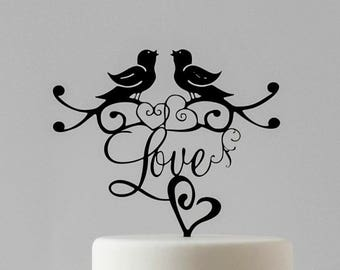 Contemporary Lovebirds Wedding Cake Topper with Love Heart