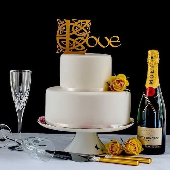 Gold Celtic Wedding Cake Topper Irish Wedding Love Cake | Etsy