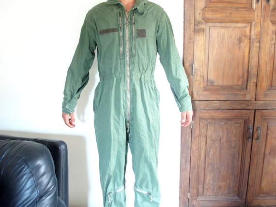 Old French pilots overall faded green made in Pari