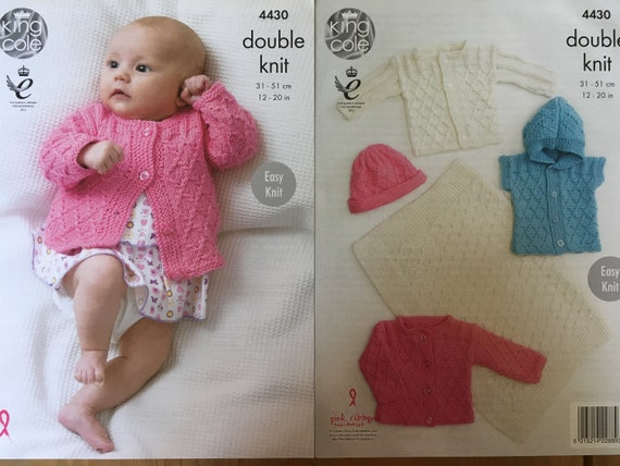 Prem - 12mths Baby Cardigans and Hat Double knitting pattern. -UKHKA\104