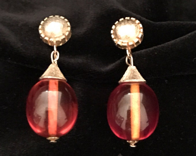 Vintage, amber lucite, dangle and drop, clip on earrings