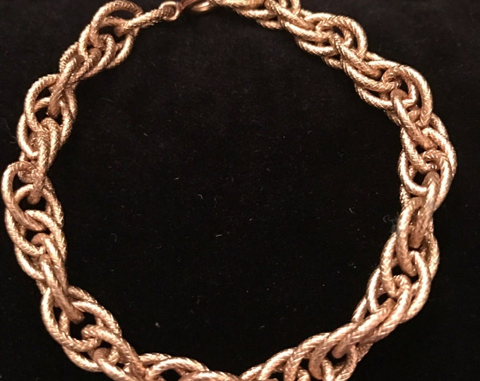 Textured wide link gold plated choker and coordinating bracelet