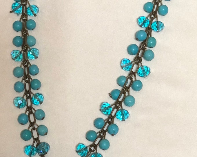 Y turquoise and crystal necklace
