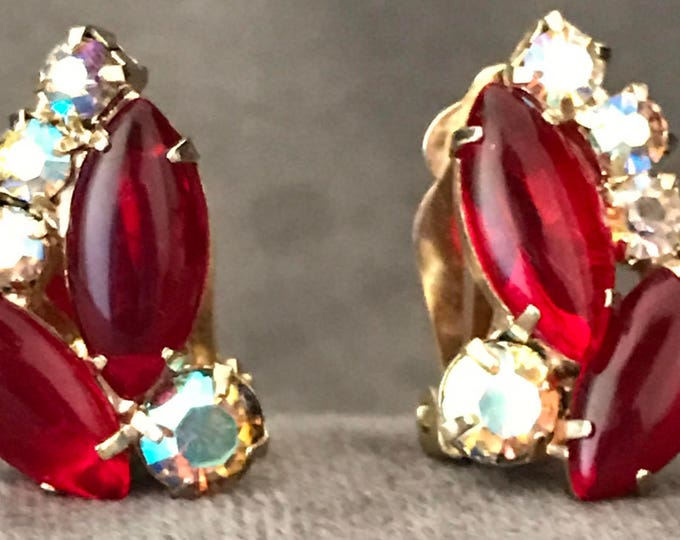 Vintage clip earrings with ruby glass cabochons and Aurora Borealis crystals