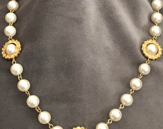 Napier, pearl and gold plated necklace