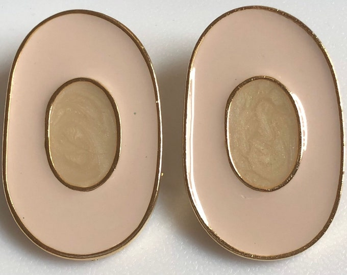 Pakula, oval enameled clip earrings