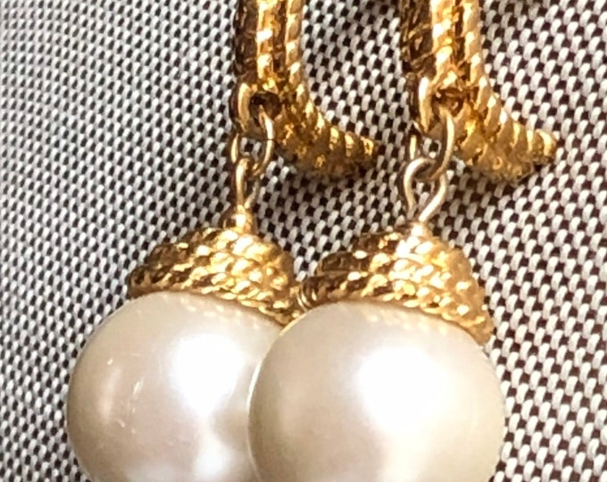 Napier gold and pearl dangle and drop earrings