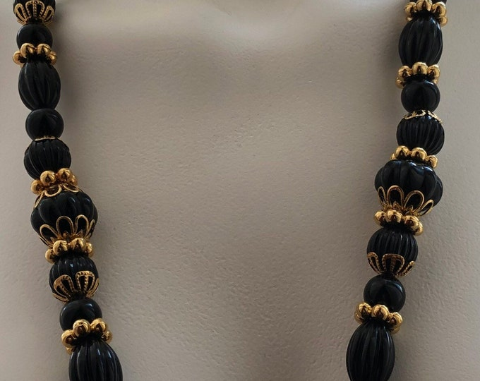 Trifari black and gold beaded necklace