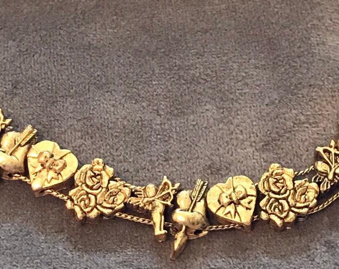 Goldette Victorian Revival,  gold plated slide bracelet