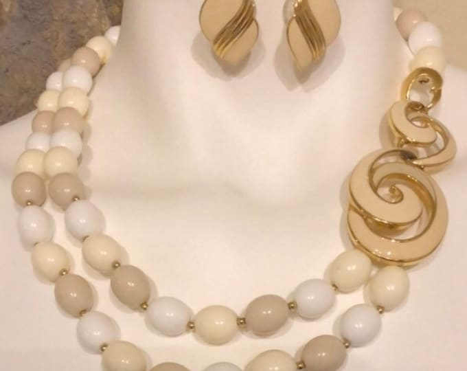 Trifari beaded necklace and earrings