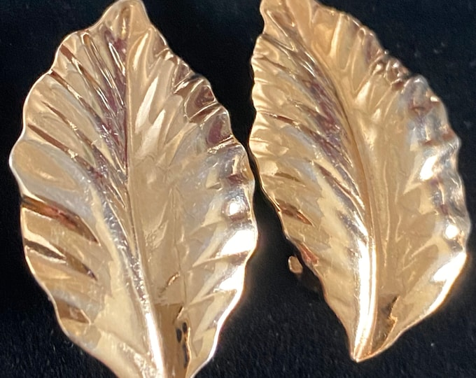 Louis Feraud, gold leaf clip earrings