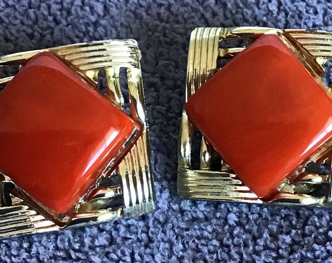 Coro thermoplastic and gold plated clip earrings