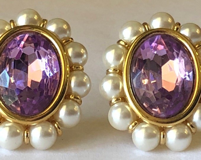 Napier,  gold plated Amethyst and pearl pierced earrigs