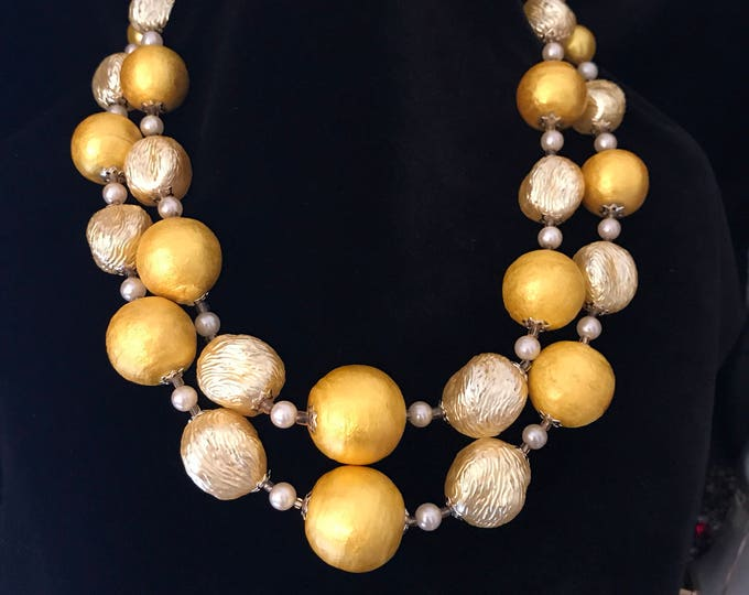 Japan beaded multi strand yellow necklace