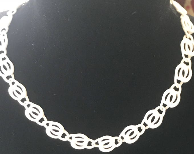 Napier White enameled choker necklace