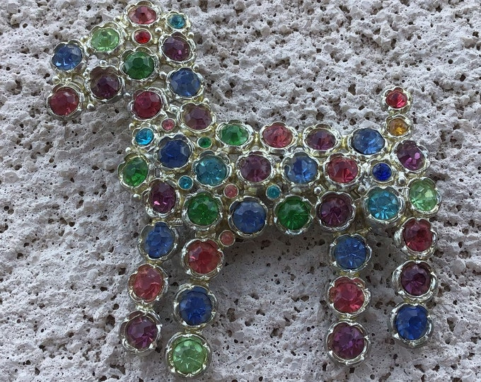 1930s era multi colored rhinestone Schnauzer brooch