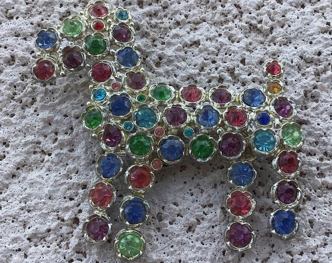 1930s era multi colored rhinestone Schnauzer brooch