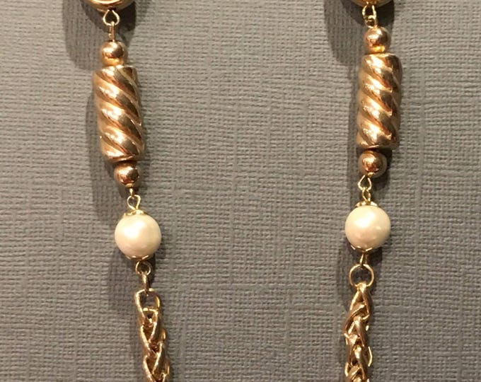 Long chain and faux pearl necklace marked Korea