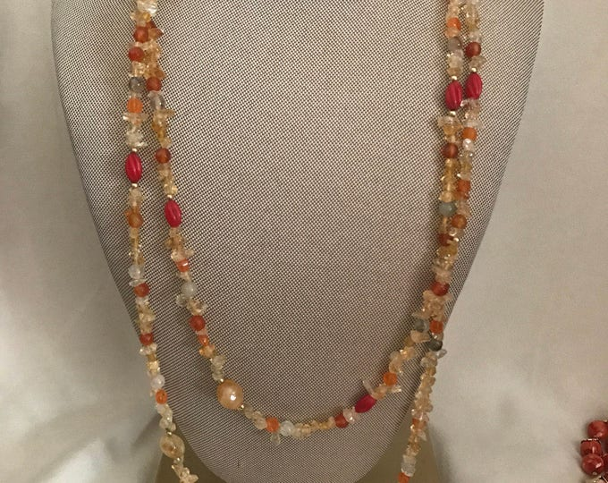 Single strand long carnelian stone necklace