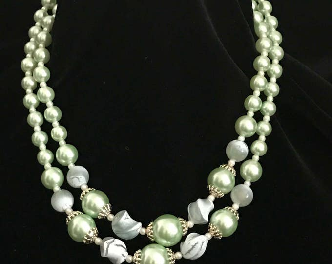 "Vintage ""Japan"" two strand mint green faux pear necklace"