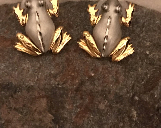 JJ, FROG, silver tone and gold plated, pierced earrings