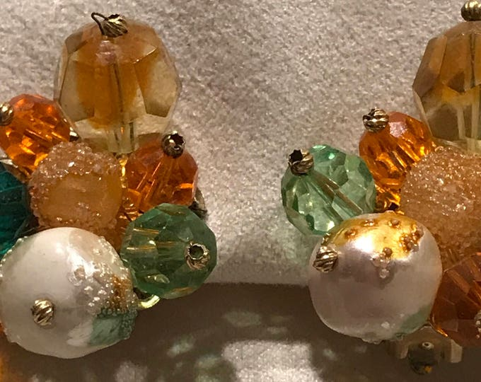 Vintage Marvella glass and sugar coated bead clip earrings