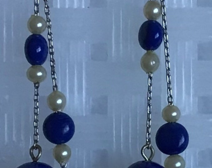 Vintage screw back dangle, lapis and pearl earrings
