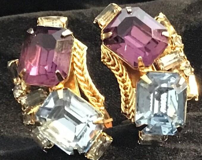 Hobe, Gold and Rhinestone clip earrings